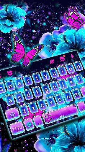 Neon Flower Butterfly Keyboard Theme screenshots 2
