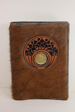 Photo: S4005 ($89.95) Hair-on-Hide leather, Brown color for Hardcover Big Book (Celtic designed removable Medallion Holder)