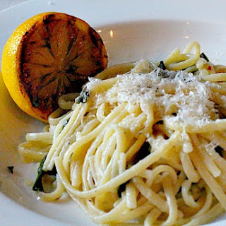 Fettuccini with Charred Lemon Sauce and Wilted Spinach.
