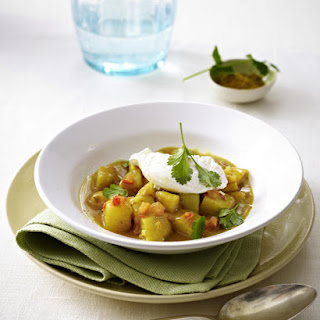Potato Curry with Poached Eggs.