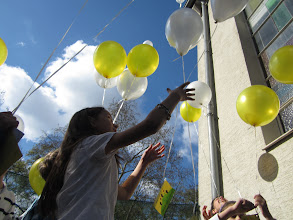 Photo: At Trinity Lutheran Church in Frankfurt, Germany, children released messages of Jesus' resurrection in the air with balloons.