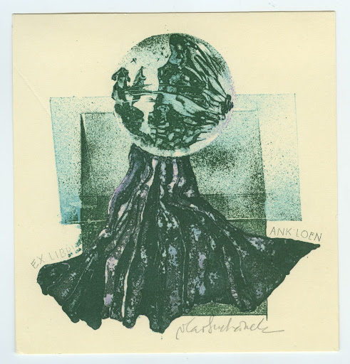 025. Bookplate. ANK LOEN. Abstract face in a ball and drapery.