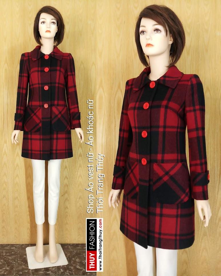 Áo khoác dạ nữ dáng dài kẻ caro đỏ đen V657 tại Hải Phòng