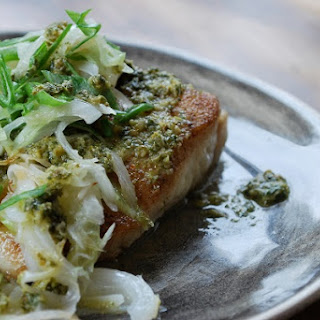 Pan Seared Halibut with Herb Mojo Sauce