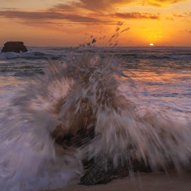 Splash Down by Keith Walmsley - Landscapes Sunsets & Sunrises ( waves, victoria, coast, sand, rocks, nature, sunset, australia, clouds, water, splash, landscape )