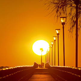 Breakwall Sunset by Bill Diller - Buildings & Architecture Other Exteriors ( michigan, nature, great lakes, breakwall, saginaw bay, tranquil, sun, peaceful, orange, calm, sunset, calmness, tranquility, lake huron )