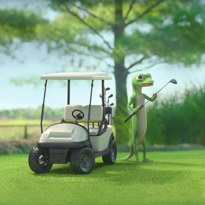 3d printing gallery image of a still frame from a geico commercial showing the use of a 3d printed resin and painted golf cart prop for the geico gecko