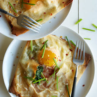 Ham, Spinach and Swiss Stuffed Breakfast Crepes.