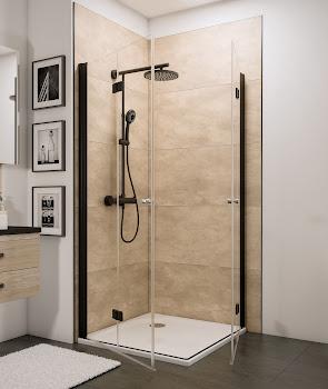 Accès d'angle avec portes pivotantes-pliantes, 4 éléments, style industriel, profilé noir