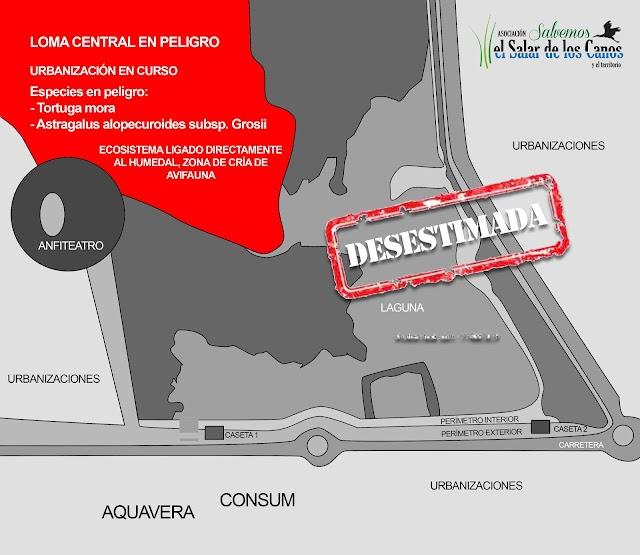 Mapa del Salar en el que se aprecia en rojo el terreno objeto de las alegaciones.