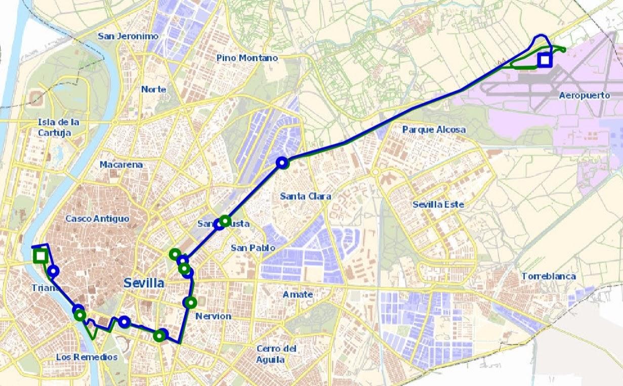 mapa línea EA Sevilla