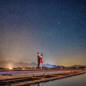 Under the Stars by Marius Igas - Wedding Bride & Groom ( love, stars, lovebridge, couple, bride, groom )