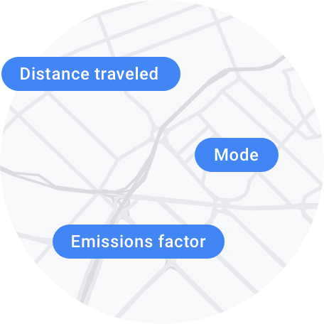 Distance traveled, mode, and time, depicted on a map