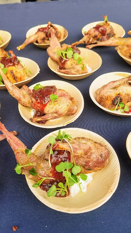 Review of Feast PDX Smoked 2017, Sarah Schafer of Irving Street Kitchen made Quail with Indian Spiced Goat Sausage, Pickled Riaita and Fresh Plum Chutney