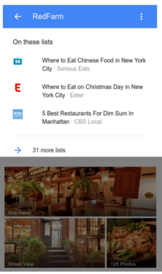 Mobile device screenshot of a top places list for RedFarm restaurant
