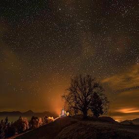 Good night Jamnik by Bor Rojnik - Landscapes Starscapes ( night view, night photography, night lights, stars, slovenia, long exposure, night, nightscape )
