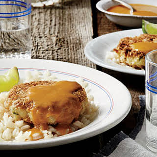 Tilapia Cakes with Mango-Coconut Curry Sauce.