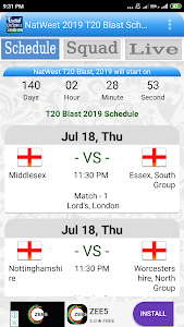 Download NatWest 2019 T20 Blast Schedule APK latest version