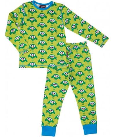 Maxomorra Pyjamas Set Bird Green