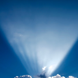 Torch by Savannah Eubanks - Landscapes Cloud Formations ( cloud, beam, beautiful, sunrays, sunbeam, blue, white, clouds )