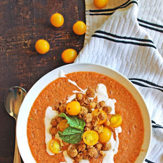 Tomato Gazpacho With Crispy Falafel Chickpeas