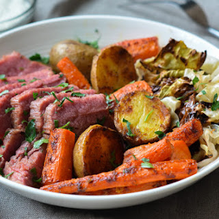 Corned Beef with Roasted Cabbage, Carrots & Potatoes + Horseradish Cream Sauce.