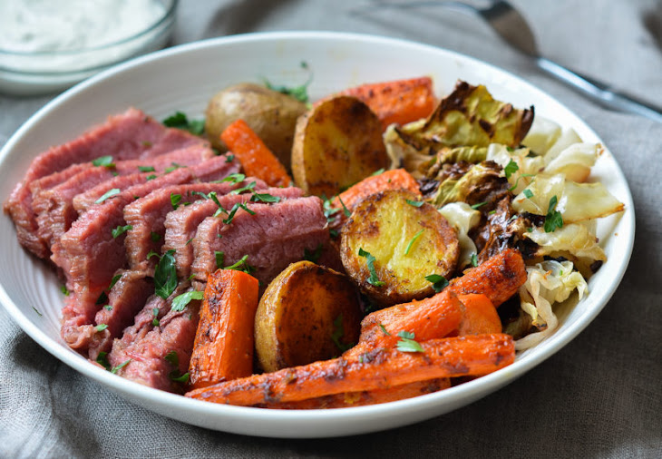 Corned Beef with Roasted Cabbage, Carrots & Potatoes + Horseradish Cream Sauce Recipe