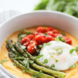 Roasted Tomato & Asparagus Polenta with Poached Egg