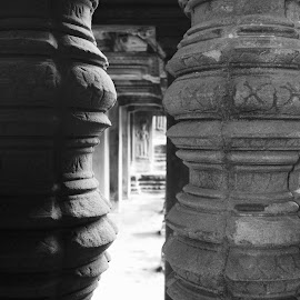 Angkor Wat, Cambodia by Di Mc - Novices Only Objects & Still Life ( blac, building, ancient, white, architecture, cambodia, pillars )