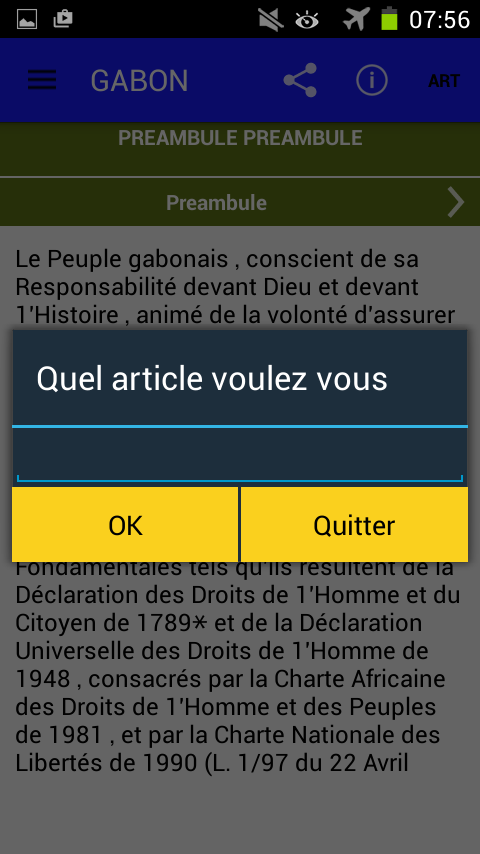 Constitution du Gabon – Capture d'écran