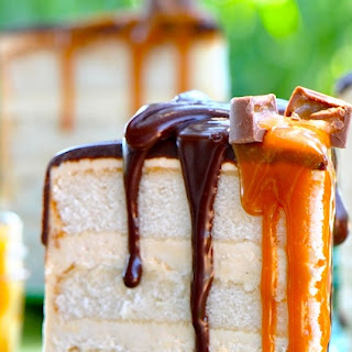 Salted Caramel Buttercream Frosting with Four Layer WHITE Cake.
