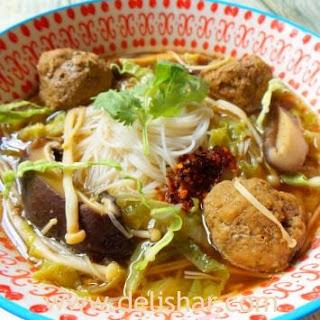 Mushroom Meatball Noodle Soup