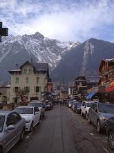 Photo: Chamonix street. (Paraglider in background center)