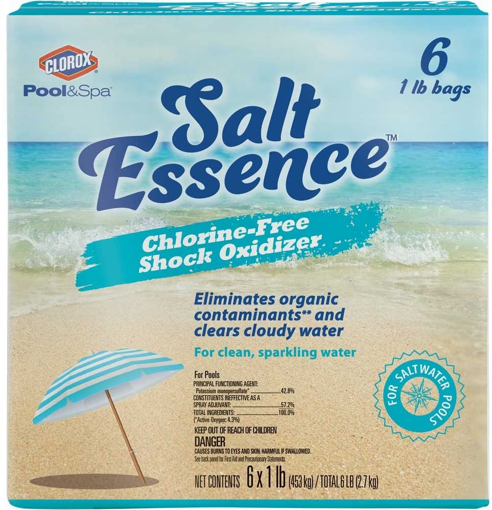 a box of Salt Essence chlorine free shock oxidizer for swimming pools