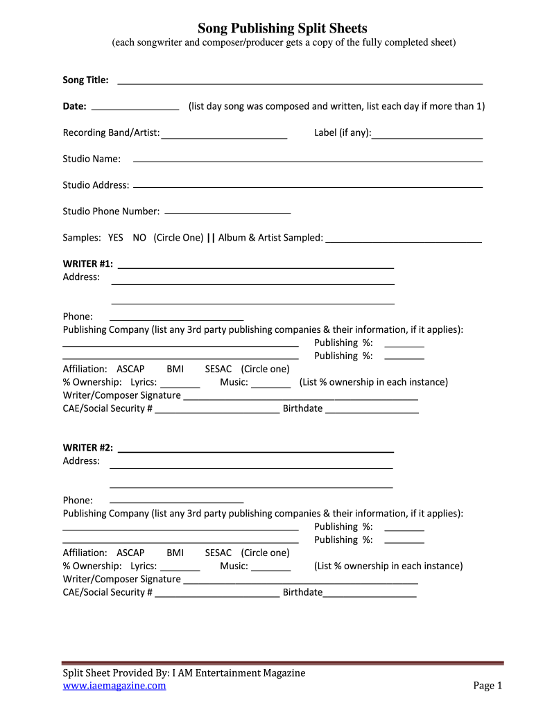 Song Publishing Split Sheets example