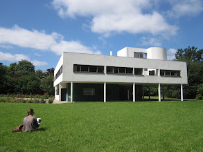 Photo: Melissa sketching at Villa Savoye