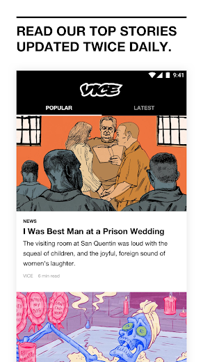 Screenshot 1 for VICE's Android app'