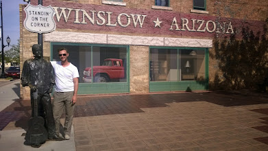 """Photo: August 12-Back on the Mother Road, I stopped on the corner in Winslow to """"Take It Easy."""""""