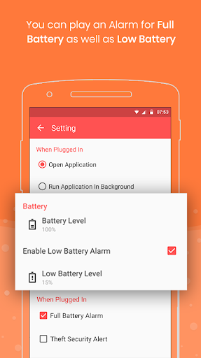 Full Battery Charge Alarm and Theft Security Alert 2.7 screenshots 2