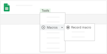 "Find the ""Record macro"" option  in a sheet by clicking ""Macros"" under ""Tools"""