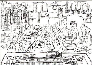 Photo: 工場即景2010.09.07鋼筆 幾乎監獄給收容人做的都是技術性不高的手工,有時我會想,立法時的美意是要犯罪人在服刑期間養成勤勞的習慣,順便能學點謀生的技術,好復歸社會生活,但…又有多少人可以在出獄後在社會上找到,像折紙袋、折紙蓮花、做原子筆、灌泡泡水,這一類簡單卻又可足以賺錢糊口的工作呢? 一個不大的空間,擠了百來人,然後做著單調的工作,與其說是學技術、養勤勞,還不如說是找事做,好打發服刑的日子…
