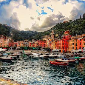 Portofino by Andrea Conti - City,  Street & Park  Historic Districts ( landmark, famous landmarks, harbor, bay, boats, cove, sea, genova, portofino, travel, homes, italy,  )