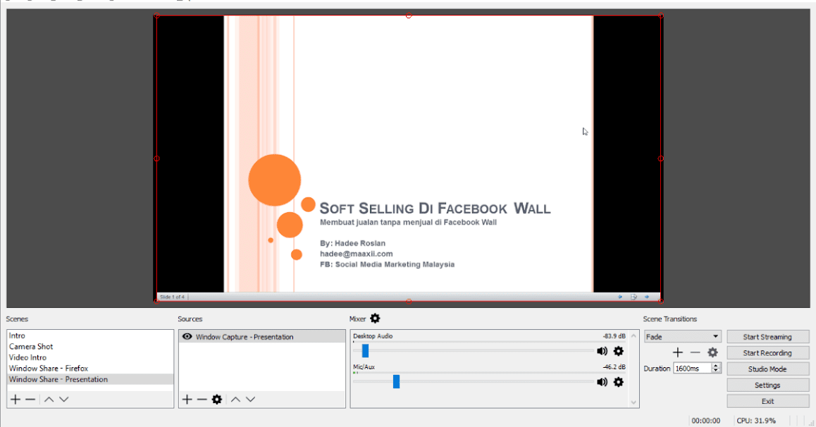 OBS Studio Window Capture - FB Live Powerpoint Presentation Ready