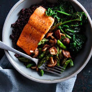 Salmon Bowls with Black Rice & Lentils.