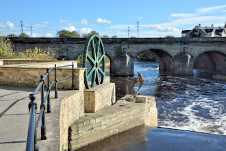 Photo: Wetherby Bridge, the Spawning Salmon sculpture and the cog wheel.