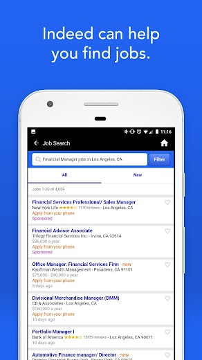 Screenshot 1 for Indeed's Android app'
