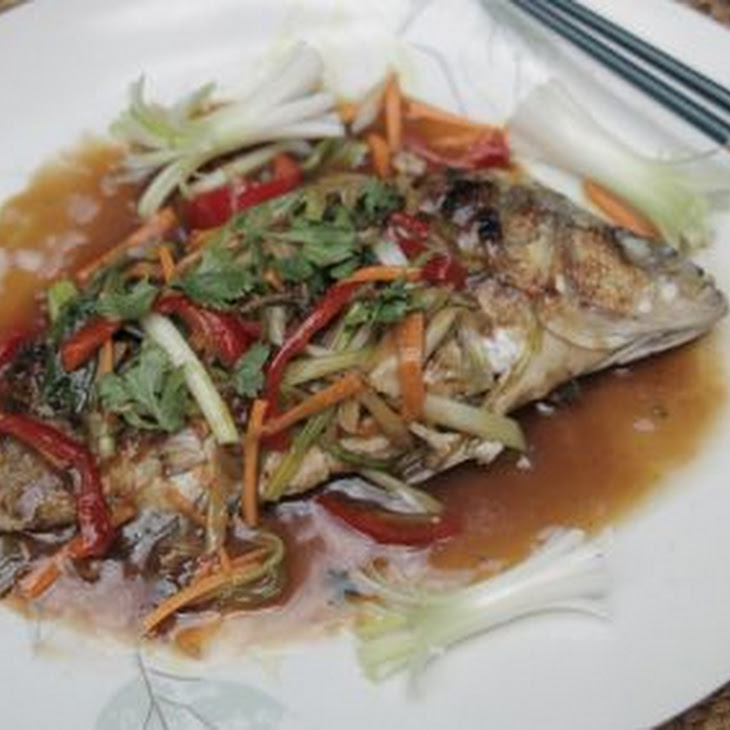 Bacon and Water Chestnut Stuffed Fish with Ginger Sauce Recipe