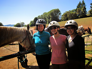 Photo: Janine, Carrie Ann & Linh preparing to ride