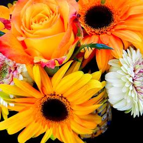 Bright Floral Bouquet by Kathy Rose Willis - Flowers Flower Arangements ( minions, rose, arrangement, colorful, bright, yellow, flowers, gerbera,  )