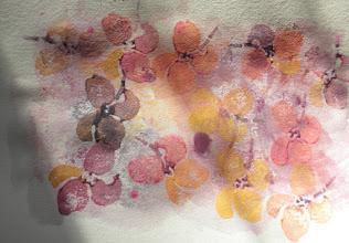Photo: 3/18/2012 Gold magnolia. Acrylic wash on watercolor paper base. Foam overprint acrylic.